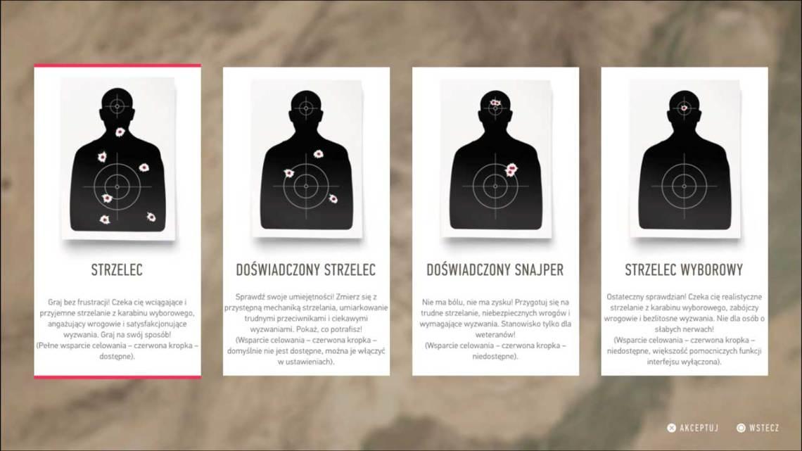 poziomy trudności Sniper