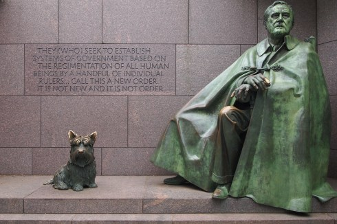 FDR in his cape which hides his wheelchair and his beloved FALA