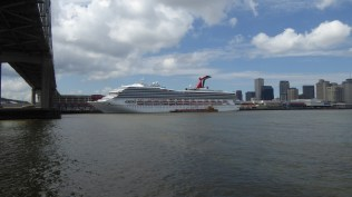 A fairly large cruise ship in dock