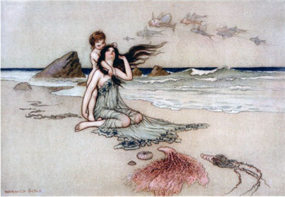 """Bathe in me mother and child"" by Warwick Goble"