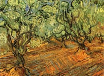 """Olive Grove, Bright Blue Sky"" (1889), by Vincent van Gogh"