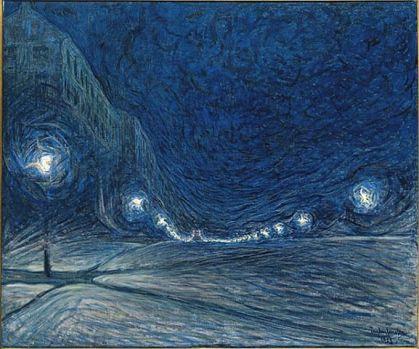 """Hornsgatan Street in Stockholm by Night"" (1902) by Eugène Fredrik Jansson"