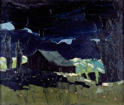 """Barn in Patagonian Landscape"" (c1969, oil on canvas) by Kyffin Williams"