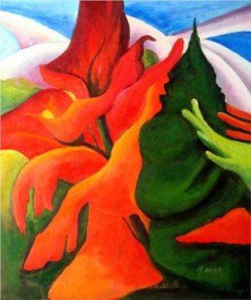 """Melting Volcano"" (nd, oil on canvas)by Georgia O'Keeffe"