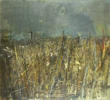 """""""Seeded Grasses and Daisies, September"""" (1960, oil, grass stalks, and seedheads on hardboard)"""