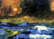 """Sea with Yellow Sun"" (1938-45)by Emil Nolde"