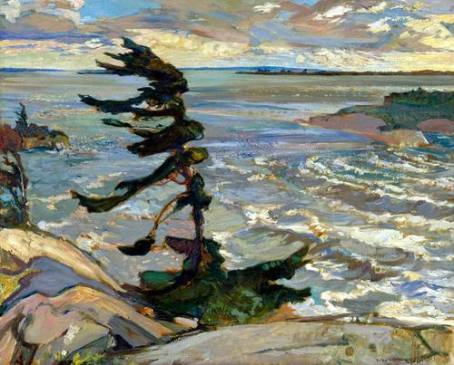 """Stormy Weather, Georgian Bay"" (1921, oil on canvas)by Fredrick Varley"