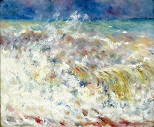"""The Wave"" (1879, oil on canvas) by Pierre August Renoir"