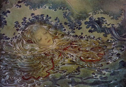 """""""Mermaid"""" (detail, 1953, illustration)by Sulamith Wulfing"""