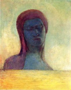 """Closed Eyes"" (c1894, oil on panel)by Odilon Redon"