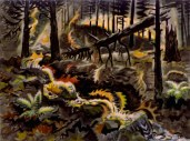 """:Autumn Leaves at Play"""" (1950-59, watercolor on paper)by Charles Burchfield"""