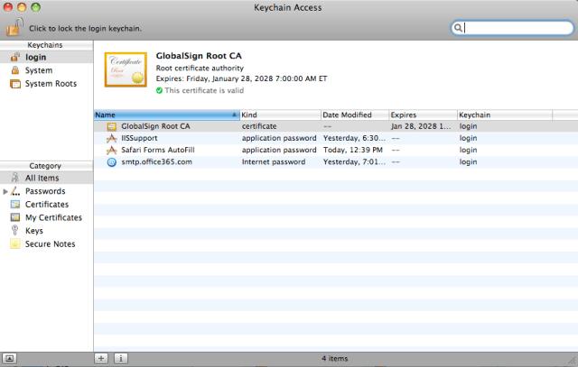 screenshot of GlobalSign Root CA installed on Leopard