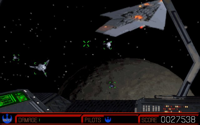 Screenshot of Rebel Assault 2: Enemy Fighters Fly Toward Your First-person Camera as You Approach a Moon