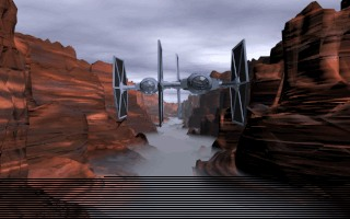 Screenshot of Rebel Assault 2: Tie Fighters Flying Toward Your First-person Camera in the Canyon Stage