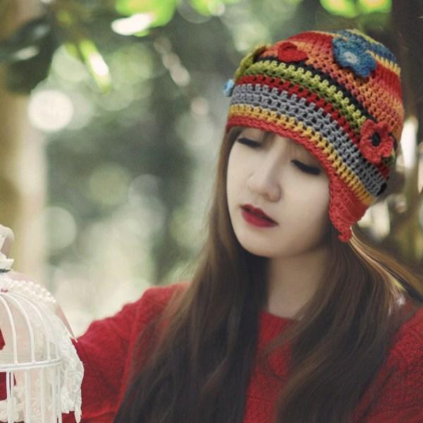 Girl with Coloured beanie