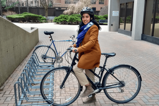 Khushpal with her bike