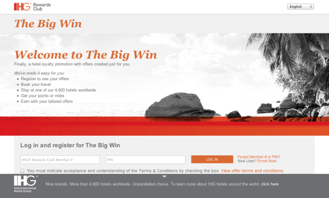 IHG Rewards Big Win Promotion 2013
