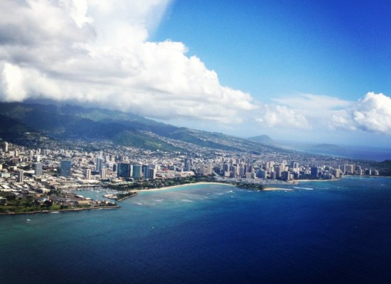 Aerial view of Waikiki Beach Honolulu Hawaii