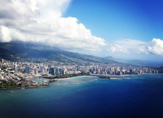 Aerial view of Waikiki Beach Honolulu Hawaii