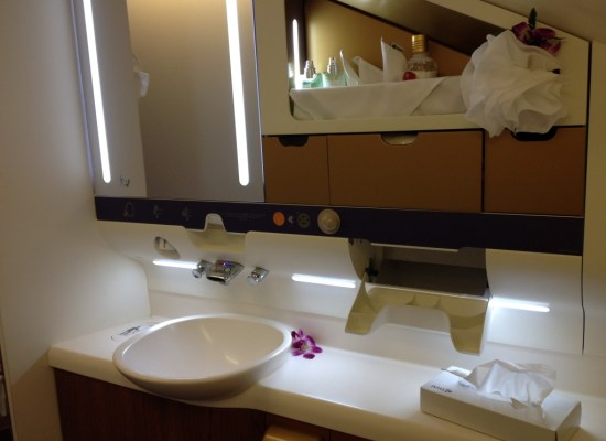 Thai Airways A380 First Class Bathroom Bulgari Bvlgari Amenities