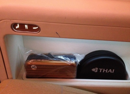 Thai Airways A380 First Class Amenity Kit and Noise Canceling Headphones