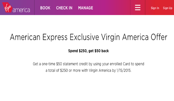 $50 Virgin America statement credit from Amex Sync offers