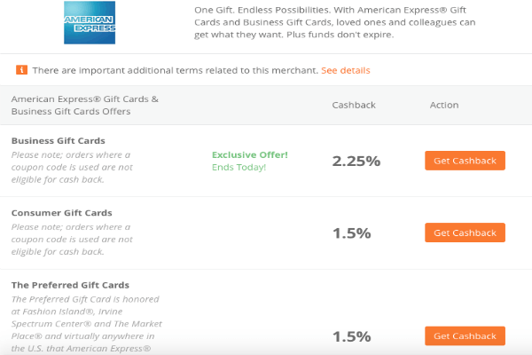 2.25 cash back on amex business gift cards