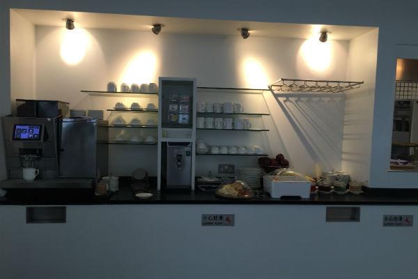 Hot drink selection at the Dragonair Business Class Lounge Hong Kong