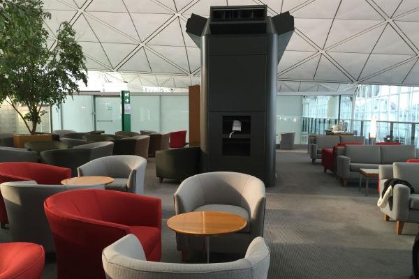 Seating area at the Dragonair Business Class Lounge, Hong Kong Airport