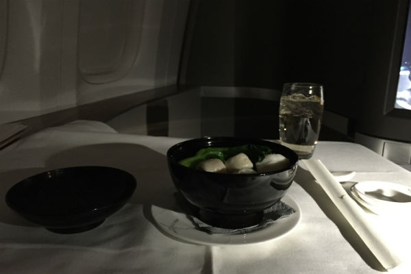 Cathay Pacific First Class Fish Ball Soup