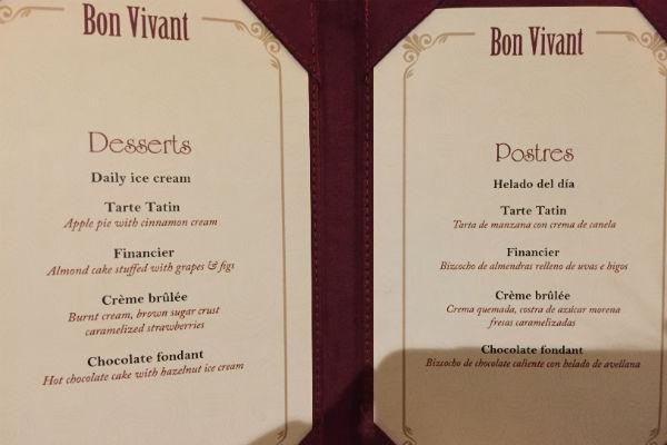 Dessert Menu at Bon Vivant Hyatt Ziva Los Cabos