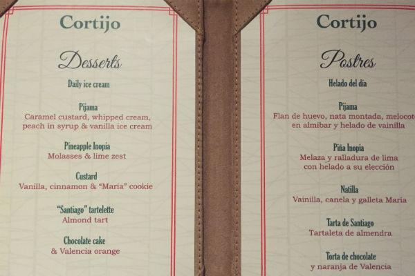 El Cortijo Dessert Menu Spanish Restaurant Hyatt Ziva Los Cabos