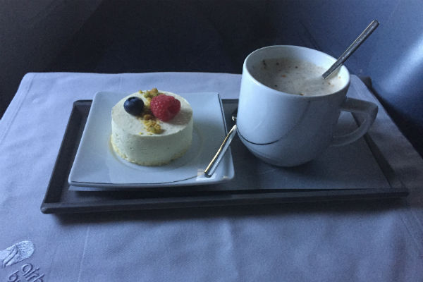 AirBerlin Business Class Dessert Fruit Mousse Cake and Latte A330 San Francisco to Dusseldorf