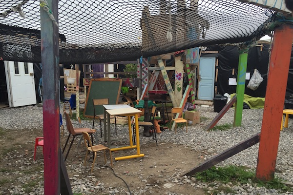 Jungle Books outdoor classroom for refugees in the Calais Jungle refugee camp