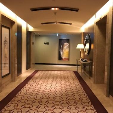 Hallway and elevators at Conrad Dubai Hotel