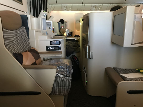 Etihad Airways Business Class Seat 14G on the 777-200 SFO to AUH