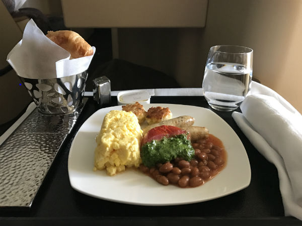 Etihad Airways Business Class Breakfast Scrambled Eggs with Sausage and Baked Beans