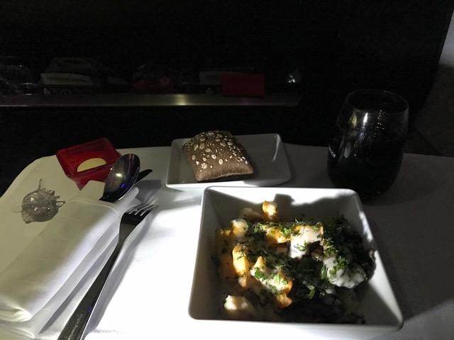 Virgin America First Class Dinner New York to San Francisco Gnocchi Ricotta Gorgonzola