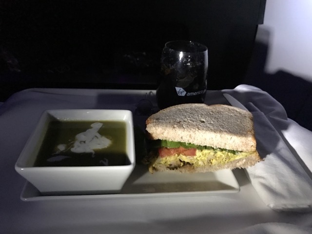 Virgin America First Class Meal: Half chicken salad sandwich and kale soup served on flight from SFO to JFK