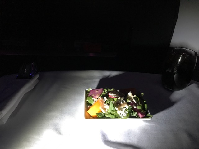 Virgin America First Class Tuscan Kale Salad on flight from New York to San Francisco
