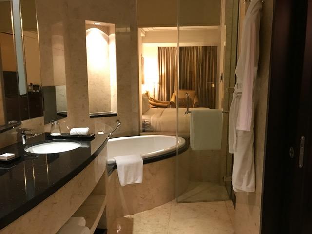 Conrad Dubai Deluxe Room Bath Tub and Shower