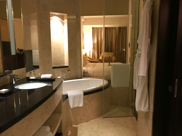Conrad Dubai Deluxe Room Bath Tub and Shower