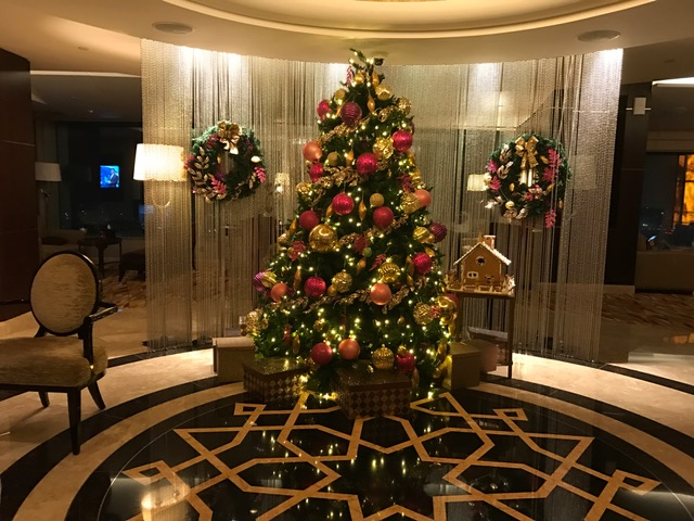 Christmas tree at the Conrad Dubai Executive Lounge