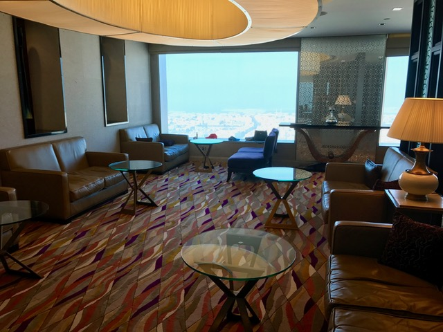 Conrad Dubai Executive Lounge Seating Area and Views of Dubai