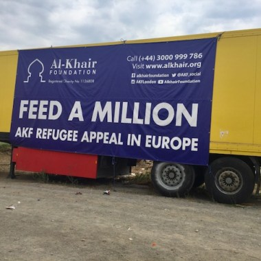 Al Khair Foundation's truck at Softex Refugee Camp in Thessaloniki Greece