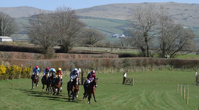 General 'scene-setter' of racing at Cherrybrook, with Dartmoor in the background