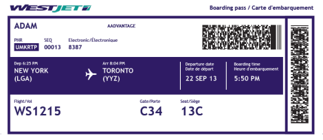 WestJet Boarding Pass