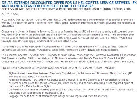 Delta US Helicopter JFK