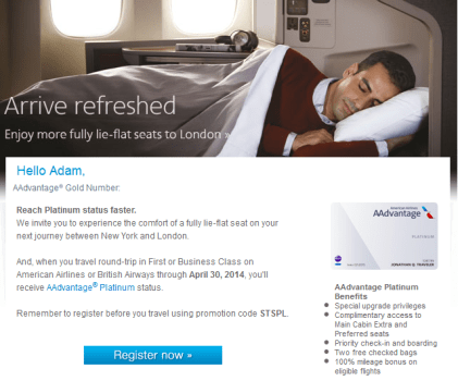 American AAdvantage Platinum Status Promotion Match One Flight