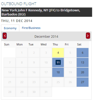 DL JFK-BGI Dec 2014 Award Availability